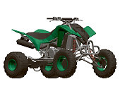 Polygonal green ATV isolated on a white background. View isometric. 3D. Vector illustration.
