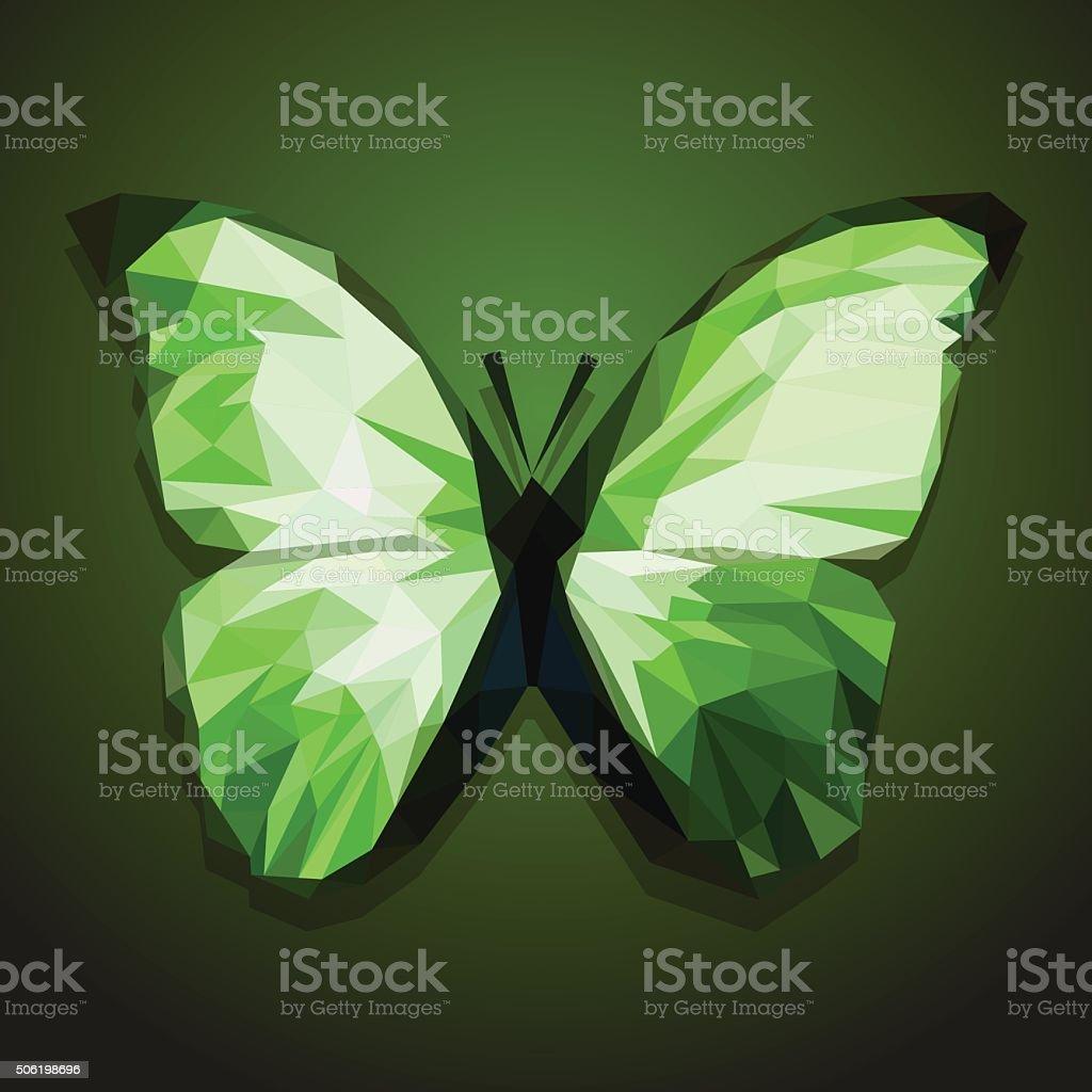 Polygonal Farfalla Su Sfondo Verde Sfumato Immagini Vettoriali