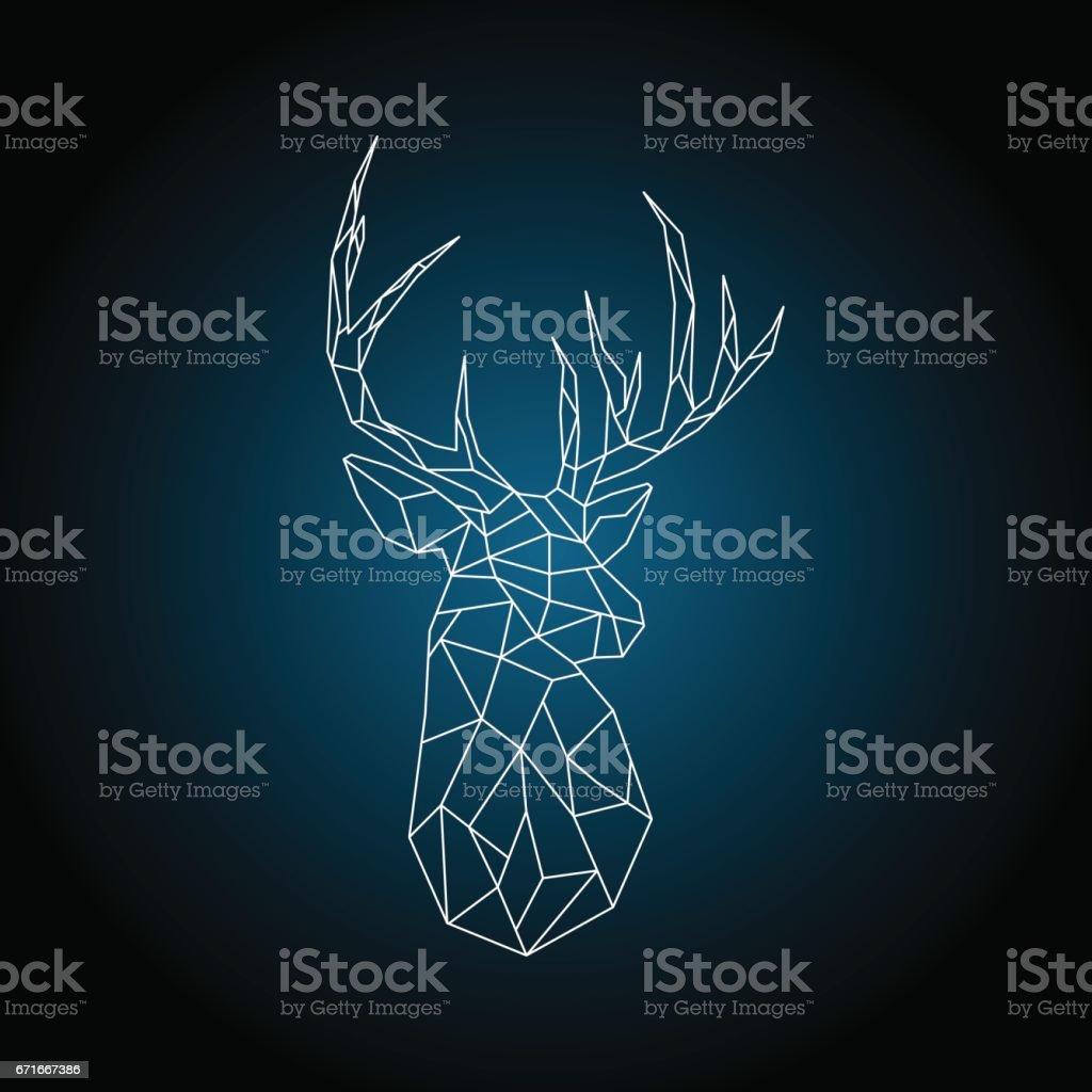 Polygonal head deer on dark blue background. vector art illustration