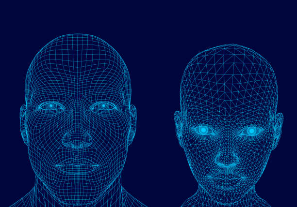 polygonal head of a man and girl - wire frame model stock illustrations