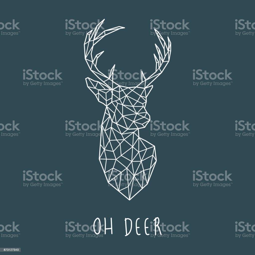 Polygonal head of scandinavian deer. Modern vector illustration. vector art illustration