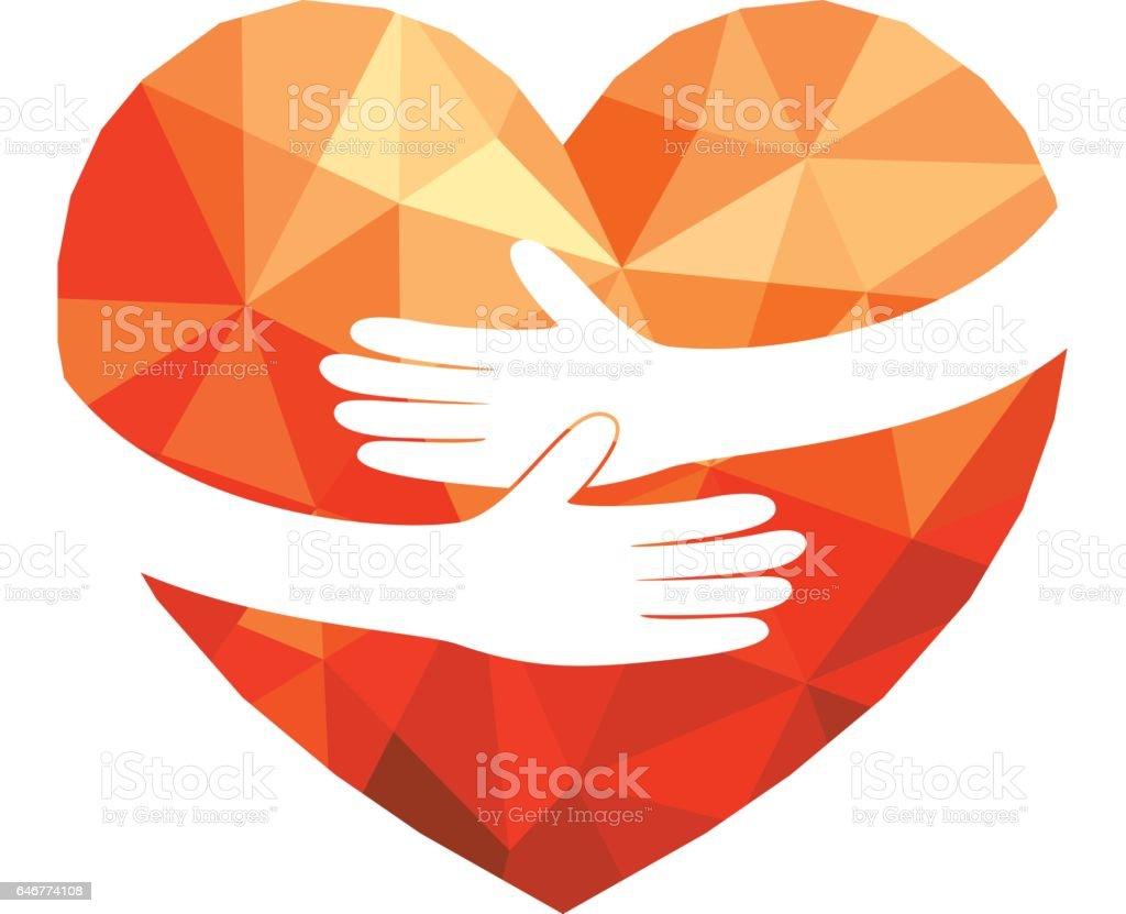Abrazo de corazón poligonales, - ilustración de arte vectorial
