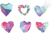 Vector Illustration of Polygonal Hearts with transparency in eps10