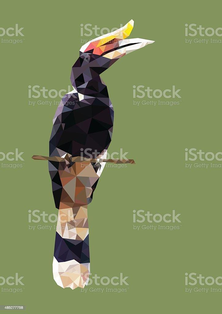 polygonal hornbill bird, animal polygon, vector illustration vector art illustration