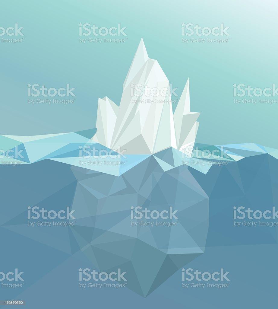 Polygonal iceberg, glacier landscape vector art illustration