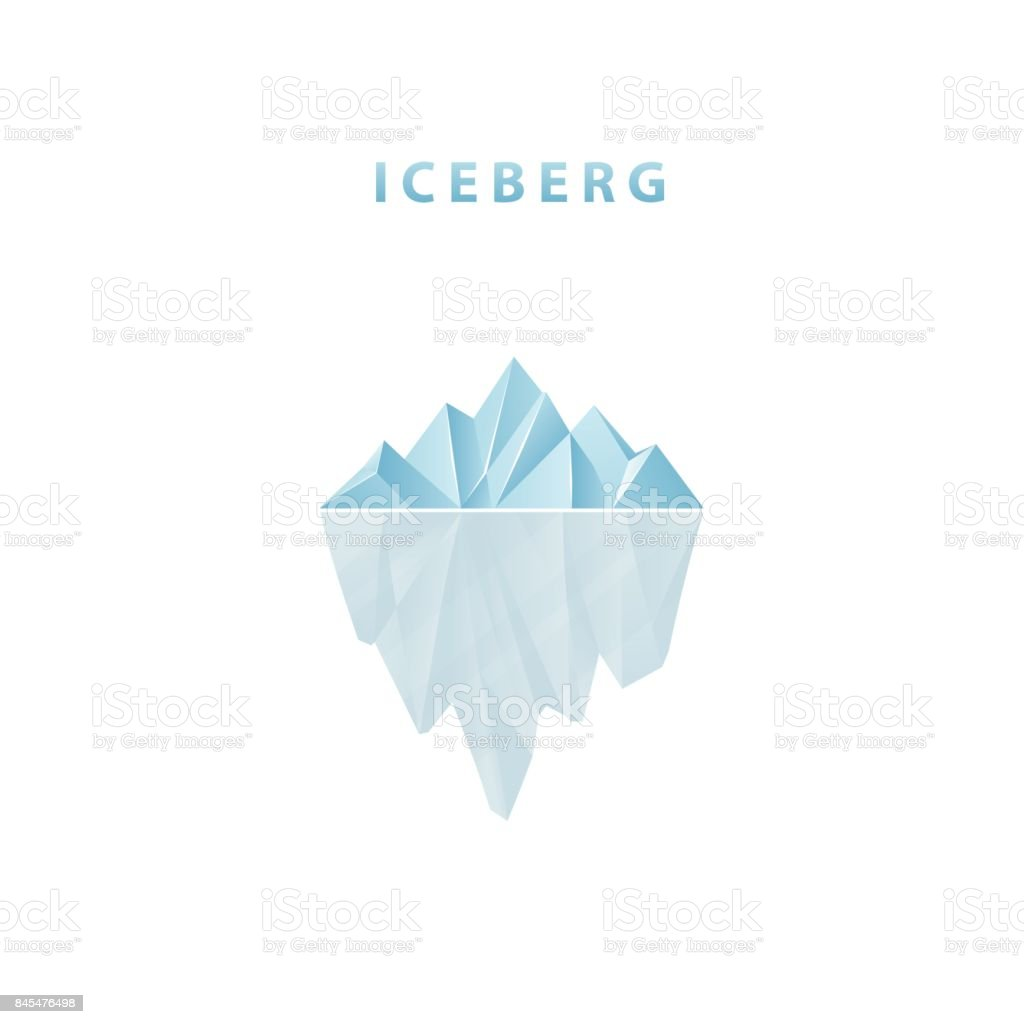 Polygonal iceberg in flat style. Iceberg icon. Polygonal iceberg in flat style. Iceberg icon. Vector illustration. Antarctic Ocean stock vector