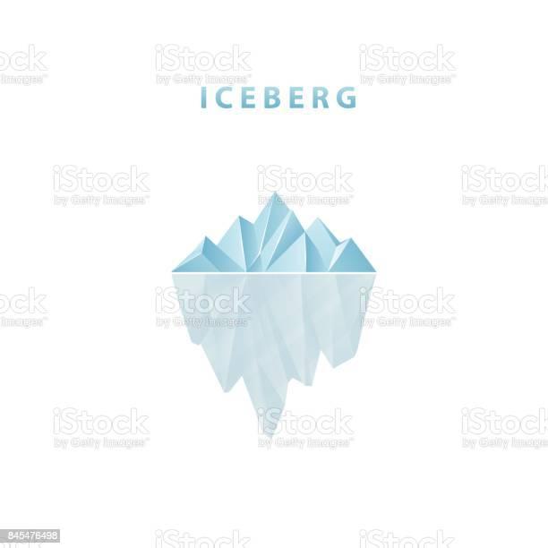 Polygonal Iceberg In Flat Style Iceberg Icon Stock Illustration - Download Image Now