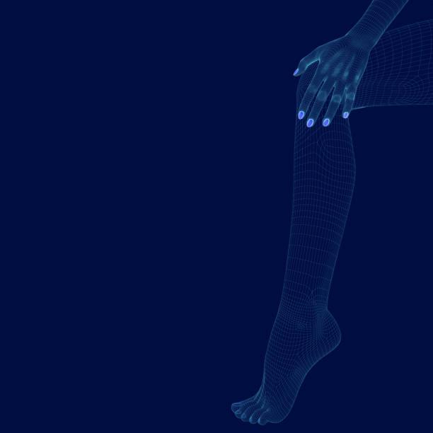 polygonales bein und hand eines mädchens. wireframe beine eines mädchens auf einem dunklen hintergrund. 3d. vektorillustration - rankgitter stock-grafiken, -clipart, -cartoons und -symbole