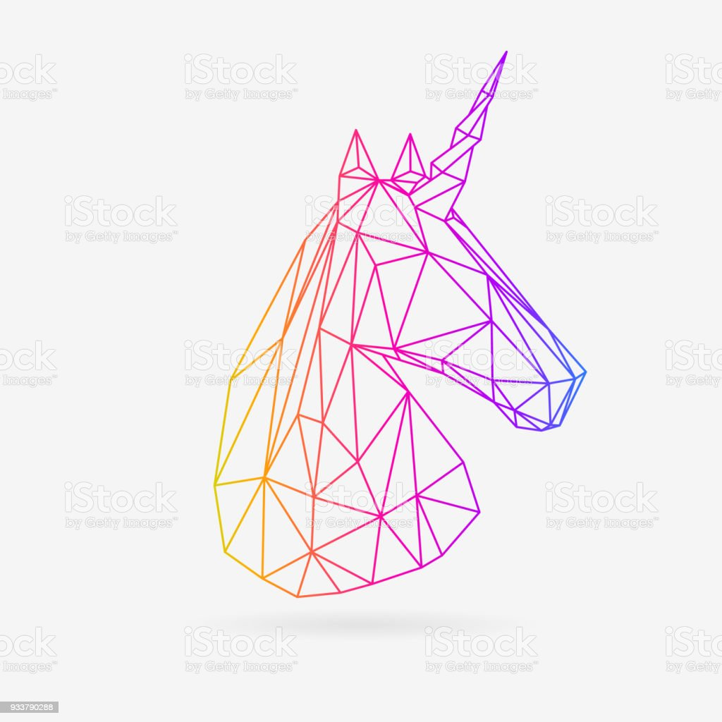Polygonal Line Unicor vector art illustration