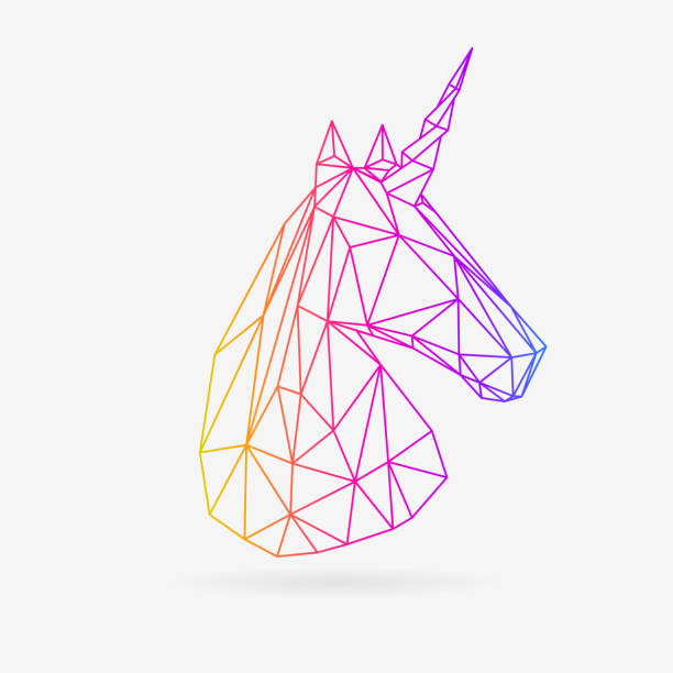 polygonal line unicor - unicorn line drawings stock illustrations, clip art, cartoons, & icons
