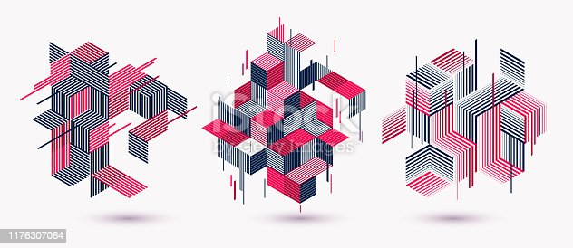 istock Polygonal low poly vector abstract designs set, artistic retro style backgrounds for ads or prints, covers or posters, banners or cards. Linear 3D triangles and cubes elements. 1176307064