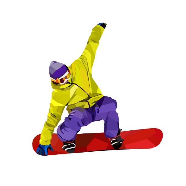 9febd2bcb84 Polygonal man on snowboard. Vector illustration vector art illustration