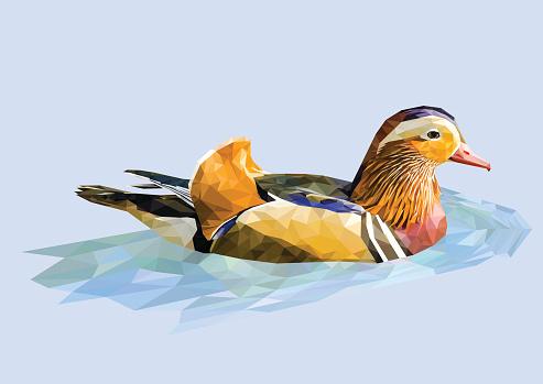 Polygonal mandarin duck. Vector illustration.