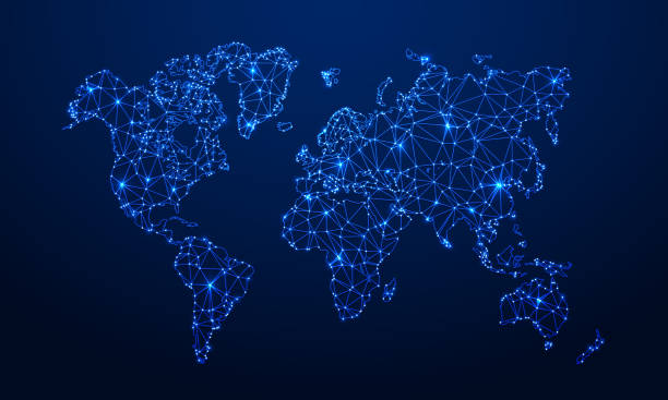 wielokątna mapa. cyfrowa mapa kuli ziemskiej, niebieskie wielokąty mapy ziemi i światowe połączenie internetowe 3d siatka wektorowa ilustracja koncepcyjna - mapa świata stock illustrations