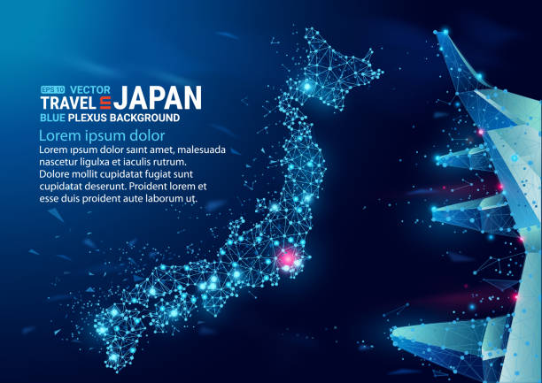 Polygonal map of Japan. Floating blue plexus geometric background. Vector illustration. High tech, communications and travel. Effect of motion luminous particles and points. Polygonal map of Japan. Floating blue plexus geometric background. Creative abstract vector illustration. High tech, communications and travel. Effect of motion luminous particles and points. tokyo stock illustrations