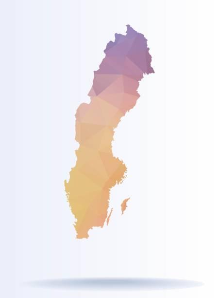 bildbanksillustrationer, clip art samt tecknat material och ikoner med polygonal karta över sverige - stockholm overview