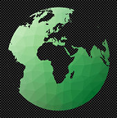 Polygonal map of the world on transparent background. Chamberlin Africa projection. Polygonal map of the world on transparent background. Stencil shape geometric globe. Modern vector illustration.