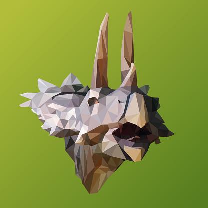 polygonal Marginocephalia dinosaur, polygon geometric triangle animal, vector illustration