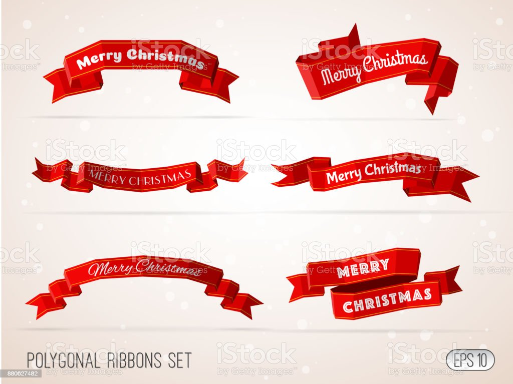 Polygonal merry christmas red ribbons collection. vector art illustration