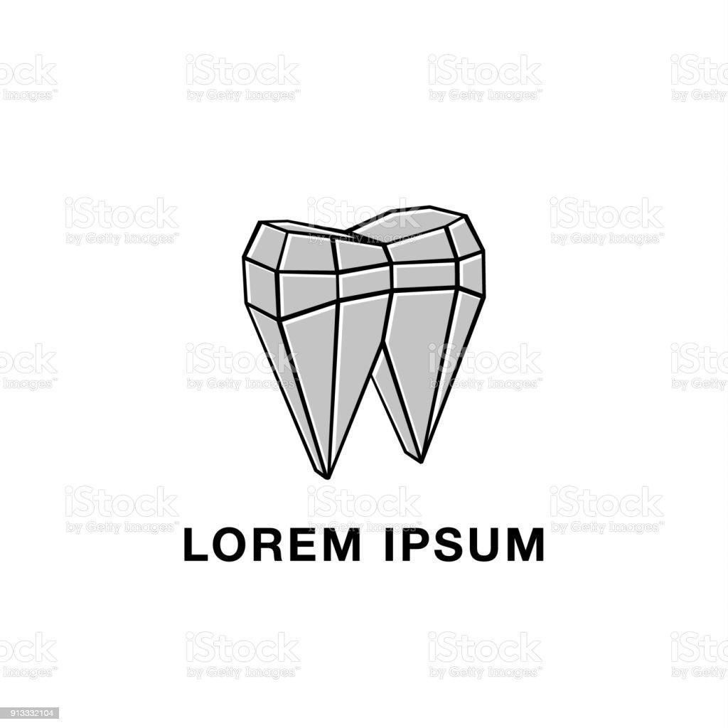 Polygonale Mesh Und Zahn Abstrakten Symbol Graue Lowpoly