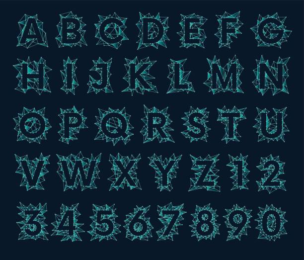 Polygonal mesh font, futuristic low poly alphabet vector art illustration
