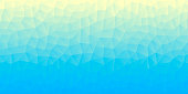Modern and trendy abstract geometric background in a low poly style. Beautiful polygonal mosaic with a color gradient. This illustration can be used for your design, with space for your text (colors used: Yellow, Beige, Turquoise, Green, Blue). Vector Illustration (EPS10, well layered and grouped), wide format (2:1). Easy to edit, manipulate, resize or colorize.