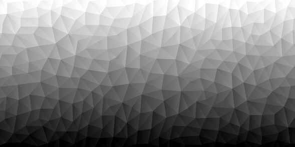 Modern and trendy abstract geometric background in a low poly style. Beautiful polygonal mosaic with a color gradient. This illustration can be used for your design, with space for your text (colors used: White, Gray, Black). Vector Illustration (EPS10, well layered and grouped), wide format (2:1). Easy to edit, manipulate, resize or colorize.