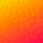 Modern and trendy abstract geometric background in a low poly style. Beautiful polygonal mosaic with a color gradient. This illustration can be used for your design, with space for your text (colors used: Yellow, Orange, Red, Pink). Vector Illustration (EPS10, well layered and grouped), format (1:1). Easy to edit, manipulate, resize or colorize.