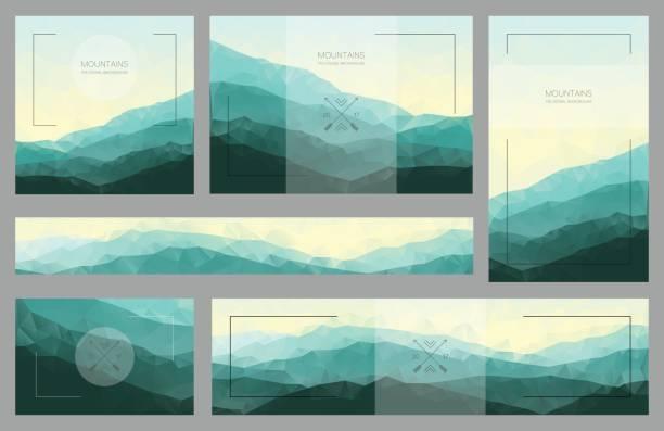 Milieux de montagne polygonale dans le jeu de cartes et bannières - Illustration vectorielle