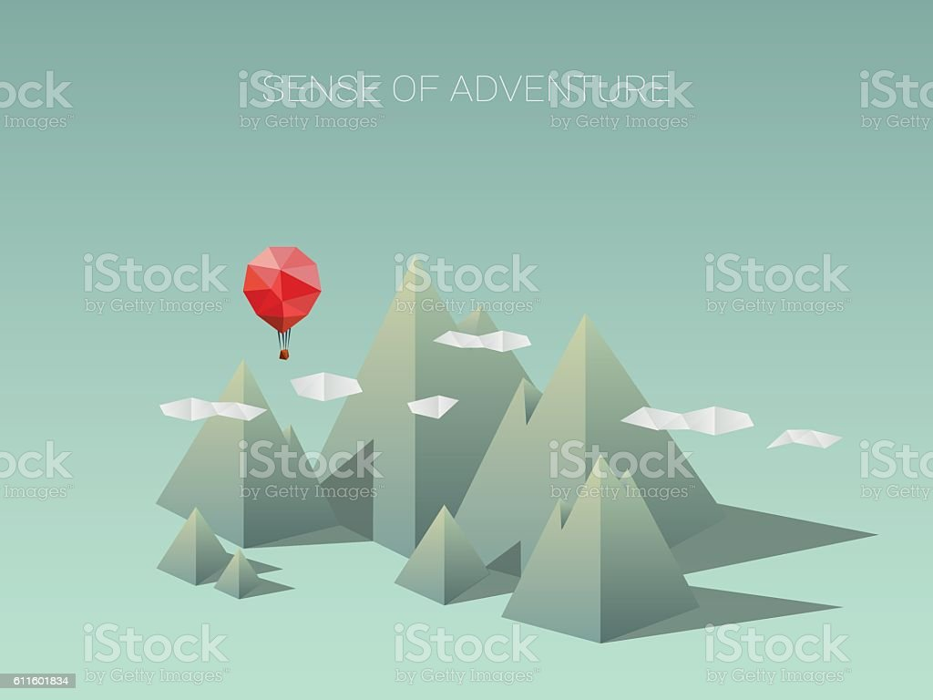 Polygonal mountain range with red balloon. Modern low poly design vector art illustration