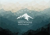 Polygonal mountains background with logo on the middle.