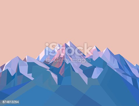 Vector low poly landscape background. High mountains, with snow on the top. Sunset in nature.