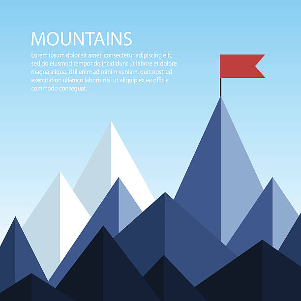 Polygonal mountains with a flag on the top vector art illustration