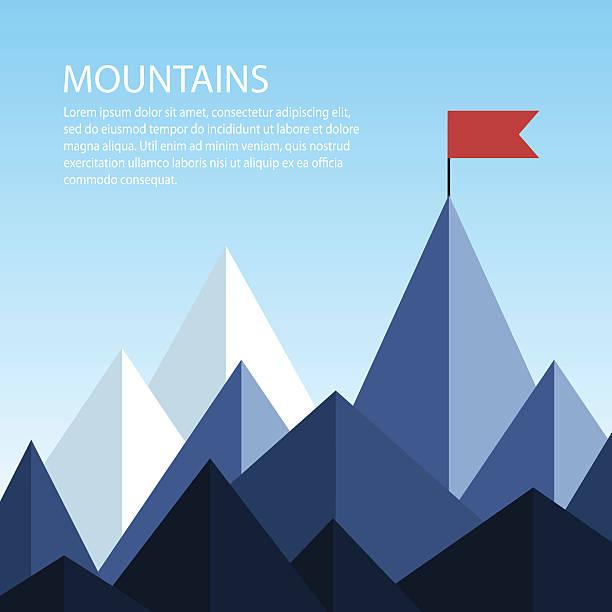 Polygonal mountains with a flag on the top - ilustración de arte vectorial