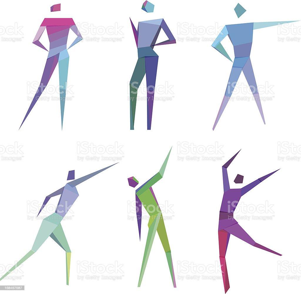 Polygonal People vector art illustration