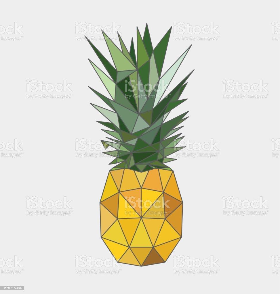 Polygonal pineapple fruit isolated on white background. Vector illustration vector art illustration