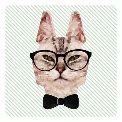Polygonal Portrait of Hipster Cat in Glasses and Bow Tie