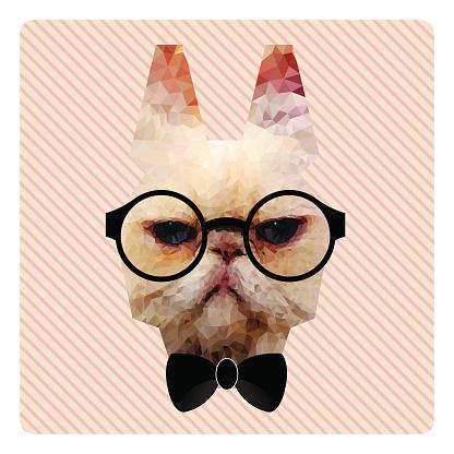 Polygonal Portrait of Hipster Cat on Pink Stripes Backgr