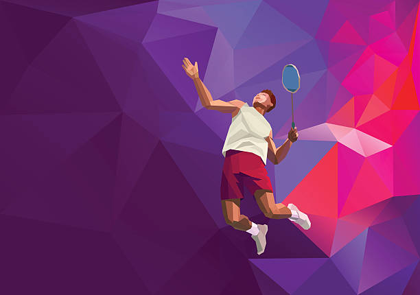 Polygonal professional badminton player on colorful low poly background, smash vector art illustration