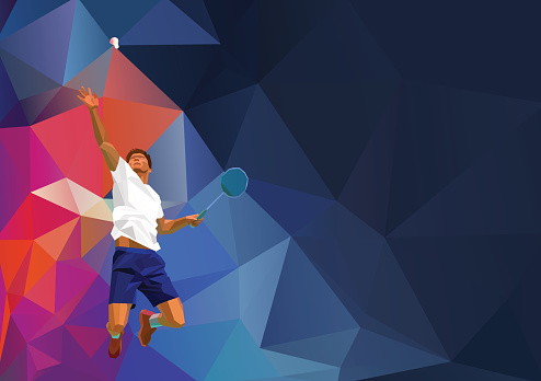 Polygonal professional badminton player on colorful low poly background, smash