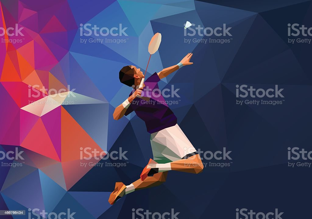 Polygonal professional badminton player vector art illustration