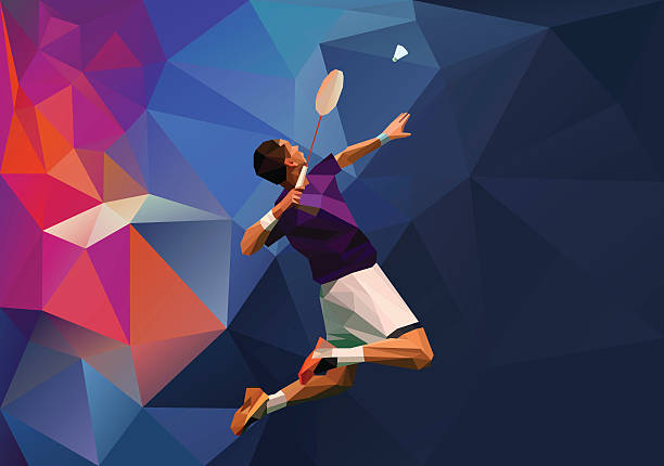 Polygonal professional badminton player vector art illustration