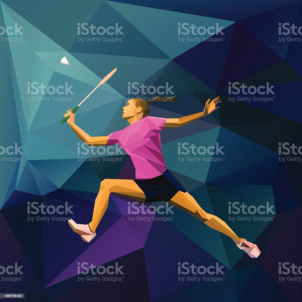 Polygonal professional female badminton player vector art illustration