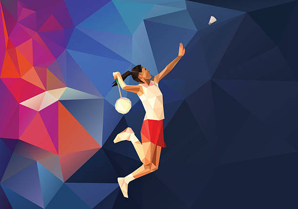Polygonal professional female badminton player vector art illustration