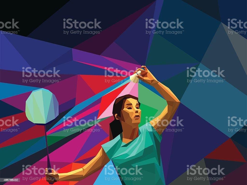 Polygonal professionnel féminin Joueur de badminton - Illustration vectorielle