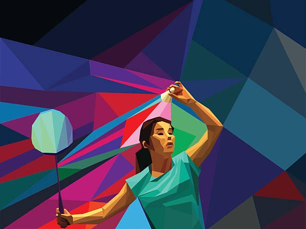 polygonal professional female badminton player - badminton smash stock illustrations