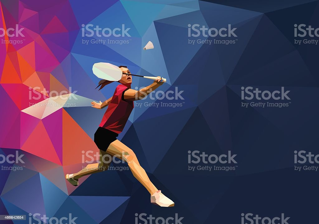 Polygonal professional female badminton player on colorful low poly...
