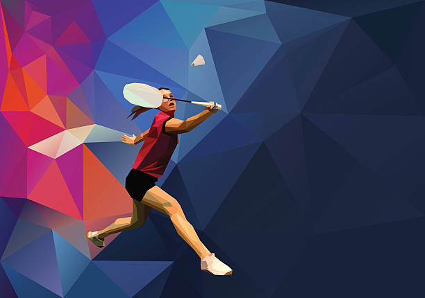 polygonal professionelle weibliche badminton player - badminton stock-grafiken, -clipart, -cartoons und -symbole