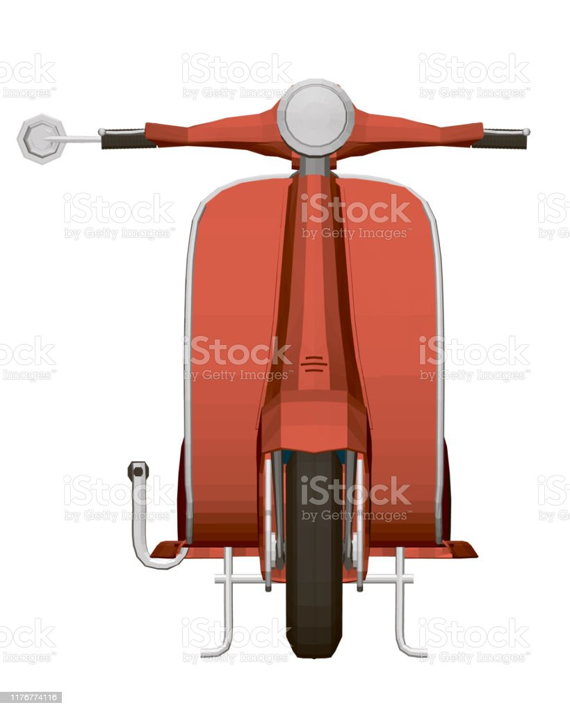 polygonal red scooter front view retro scooter 3d vector illustration stock illustration download image now istock polygonal red scooter front view retro scooter 3d vector illustration stock illustration download image now istock