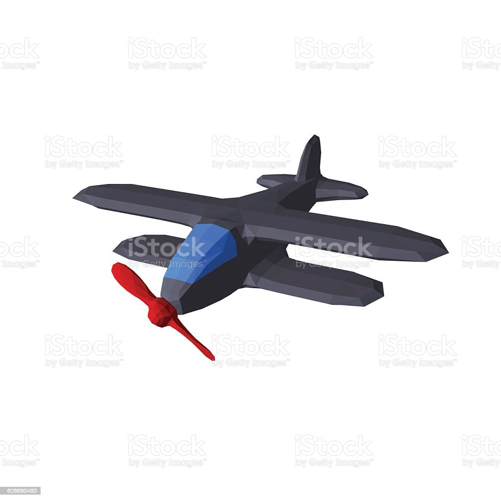 Polygonal retro plane. Isolated on white background. vector art illustration